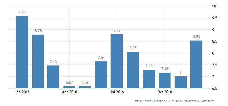 Turkish Inflation Rate at-5 Month High of 8.53% in December